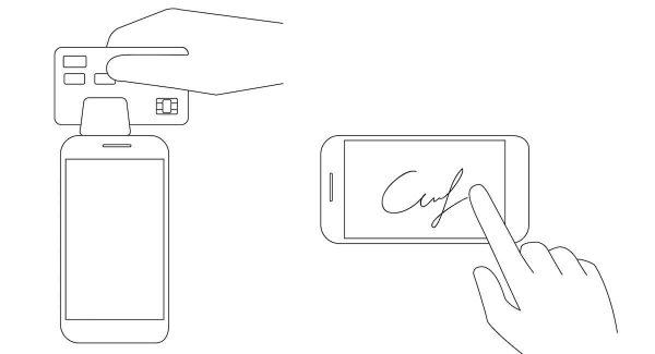 Image stylisée du lecteur de Square eet d'une signature sur un écran de smartphone