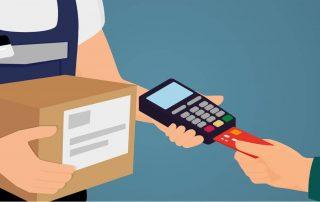 Dessin d'un commerçant présentant un terminal de paiement mobile au client qui insère sa carte