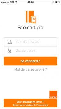 Écran de connexion de l'application d'Orange Paiement pro