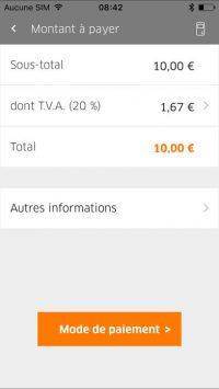 application Orange paiement pro : écran affiché avant le paiement