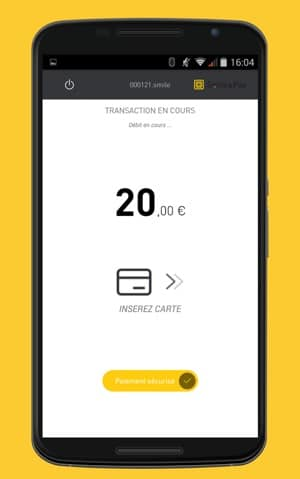 Copie d'écran de l'application Smile&Pay sur un smartphone