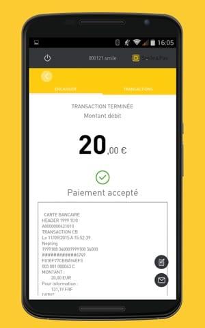 Copie d'écran de l'application Smile&Pay une fois que le paiement est accepté