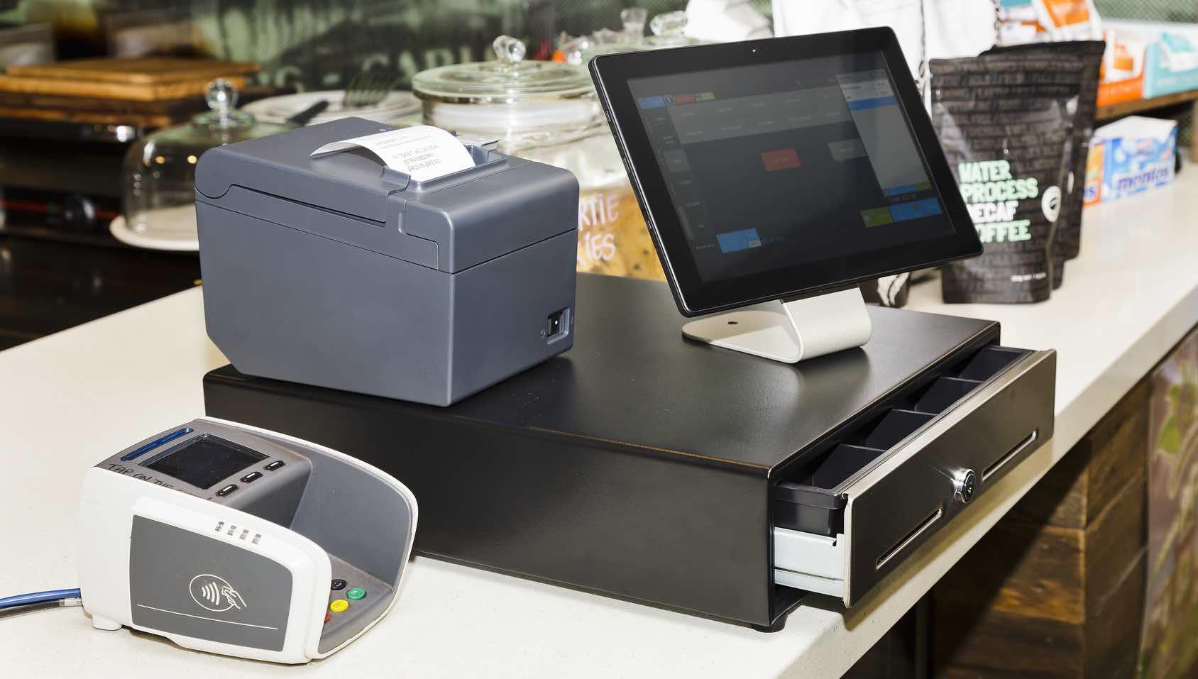 Caisse enregistreuse complète avec iPad tiroir-caisse imprimantes de reçus et lecteur de cartes