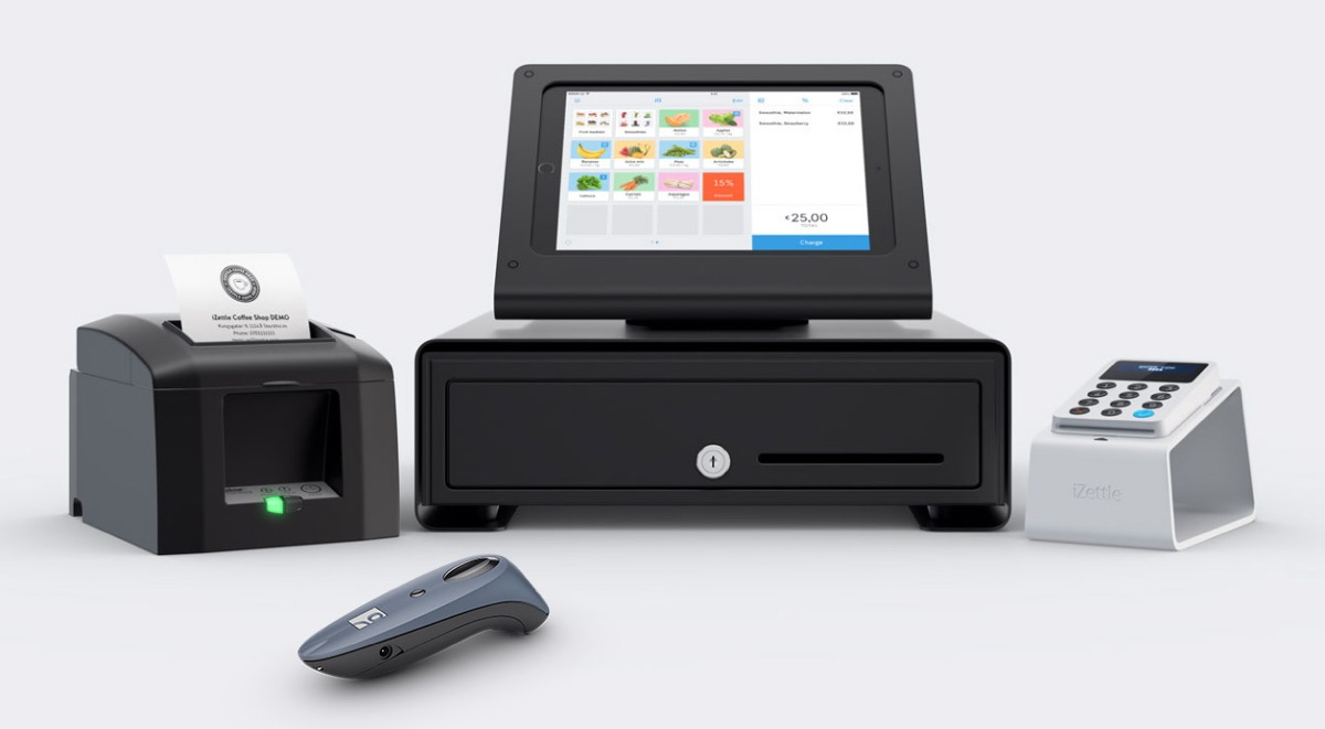 Imprimante de reçus, support pour tablette, tiroir caisse et iZettle Reader en charge sur l'iZettle Dock