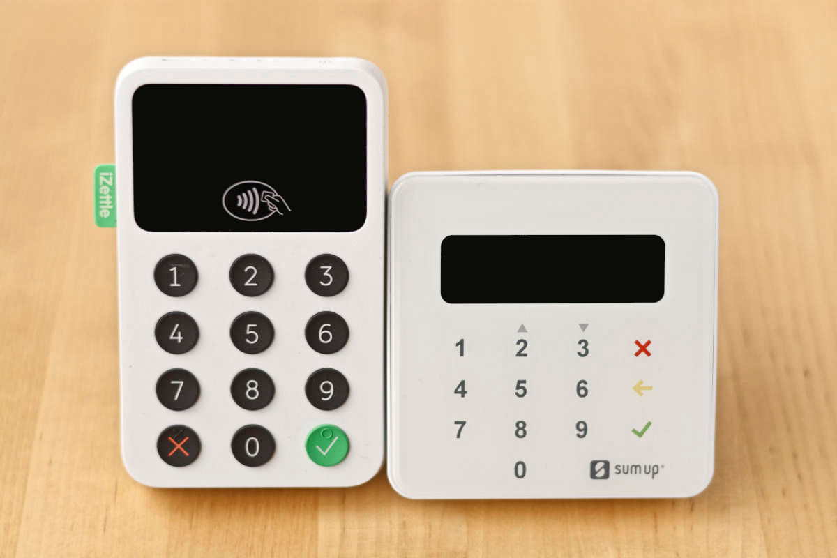 iZettle Reader 2 et SumUp Air, vue de face