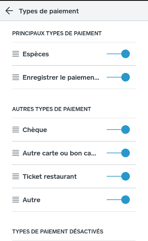 Section mode de paiement des paramètres de l'application Solution de Vente Square