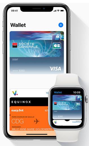 Carte bancaire ajoutée à un iPhone et une Apple Watch