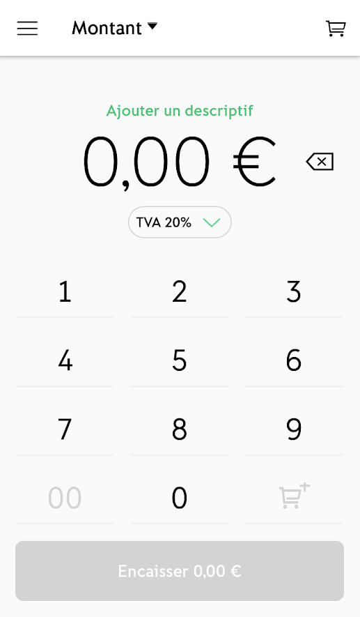Ecran de l'application iZettle Go pour taper le montant