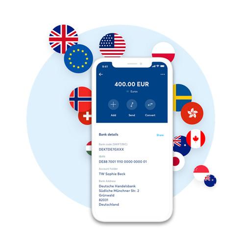 Compte multi-devises TransferWise sur un smartphone