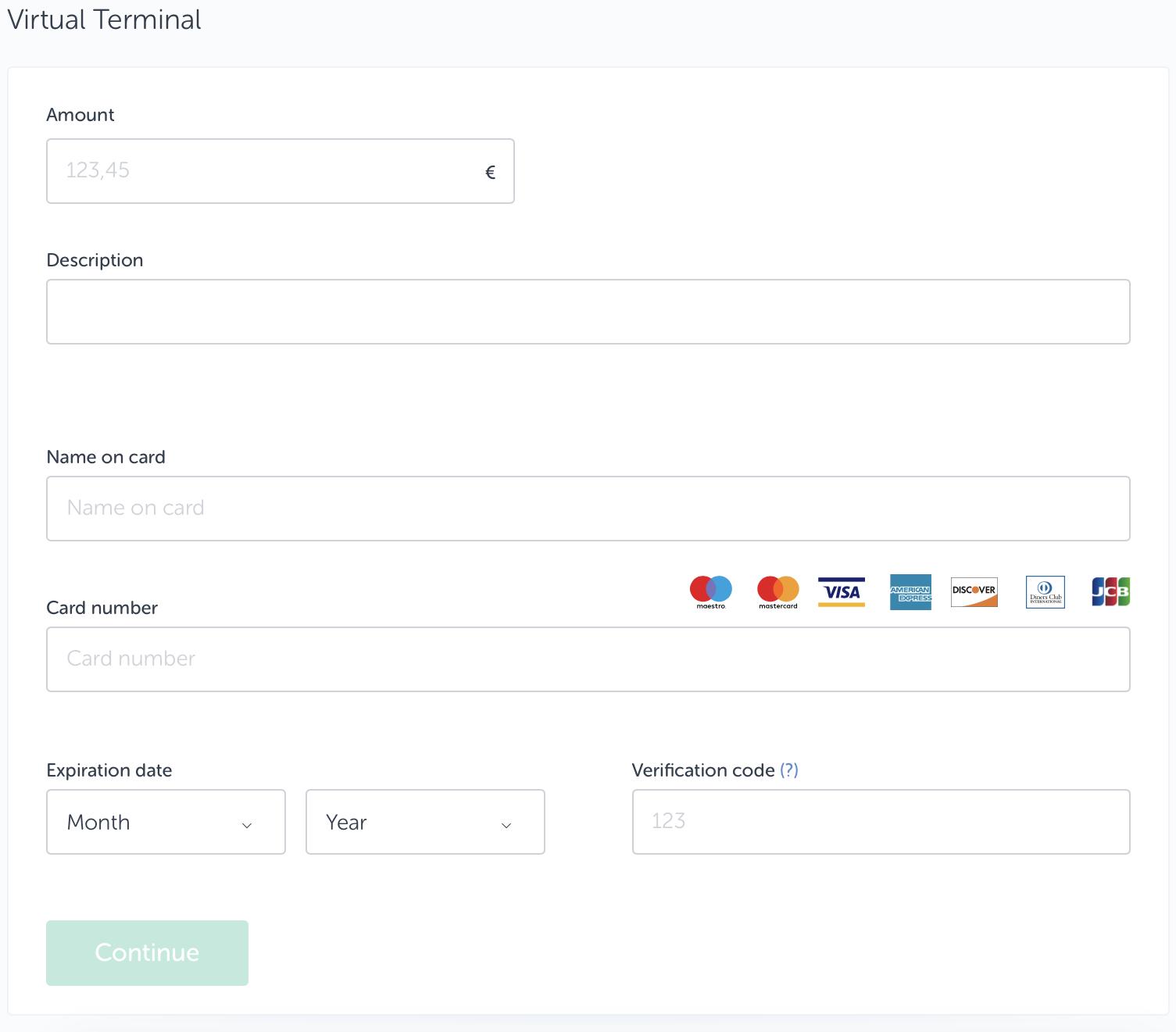 Copie d'écran du Terminal virtuel de SumUp