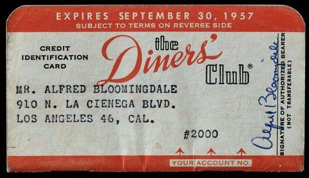 Carte de Credit Diners de 1957