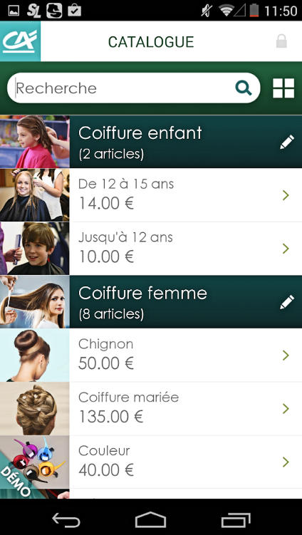 Copie d'écran de l'application Smart TPE