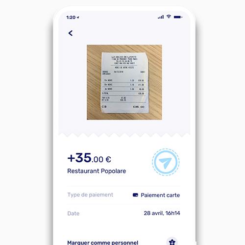 Détail d'un paiement depuis l'application Shine