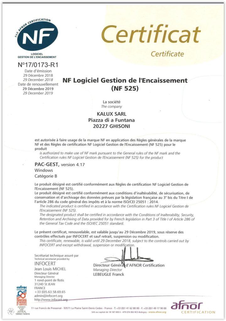 Exemple de certificat NF 525