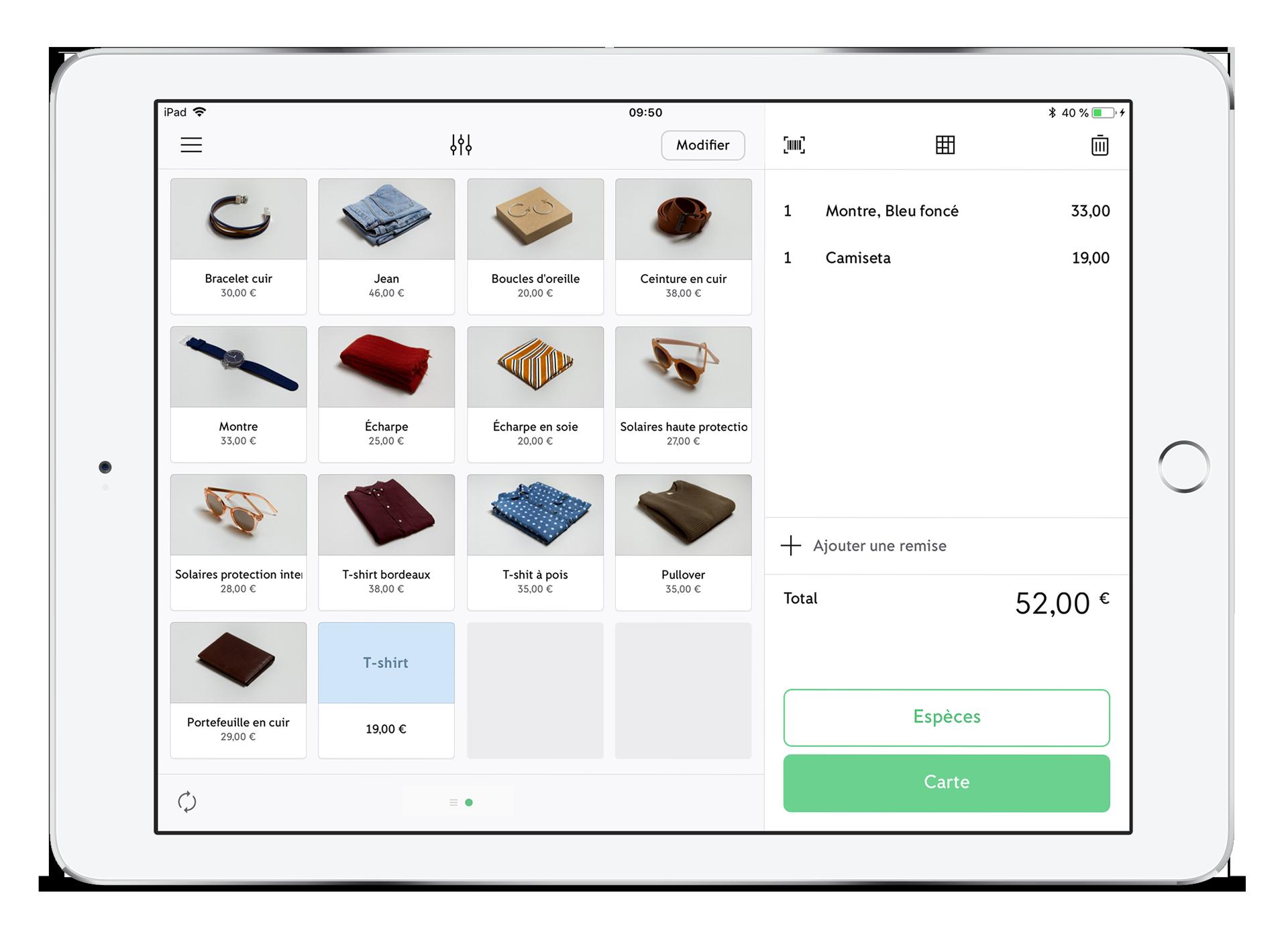 Le catalogue de produits de l'application iZettle Go