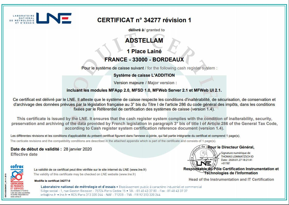 Exemple de certificat délivré par le LNE