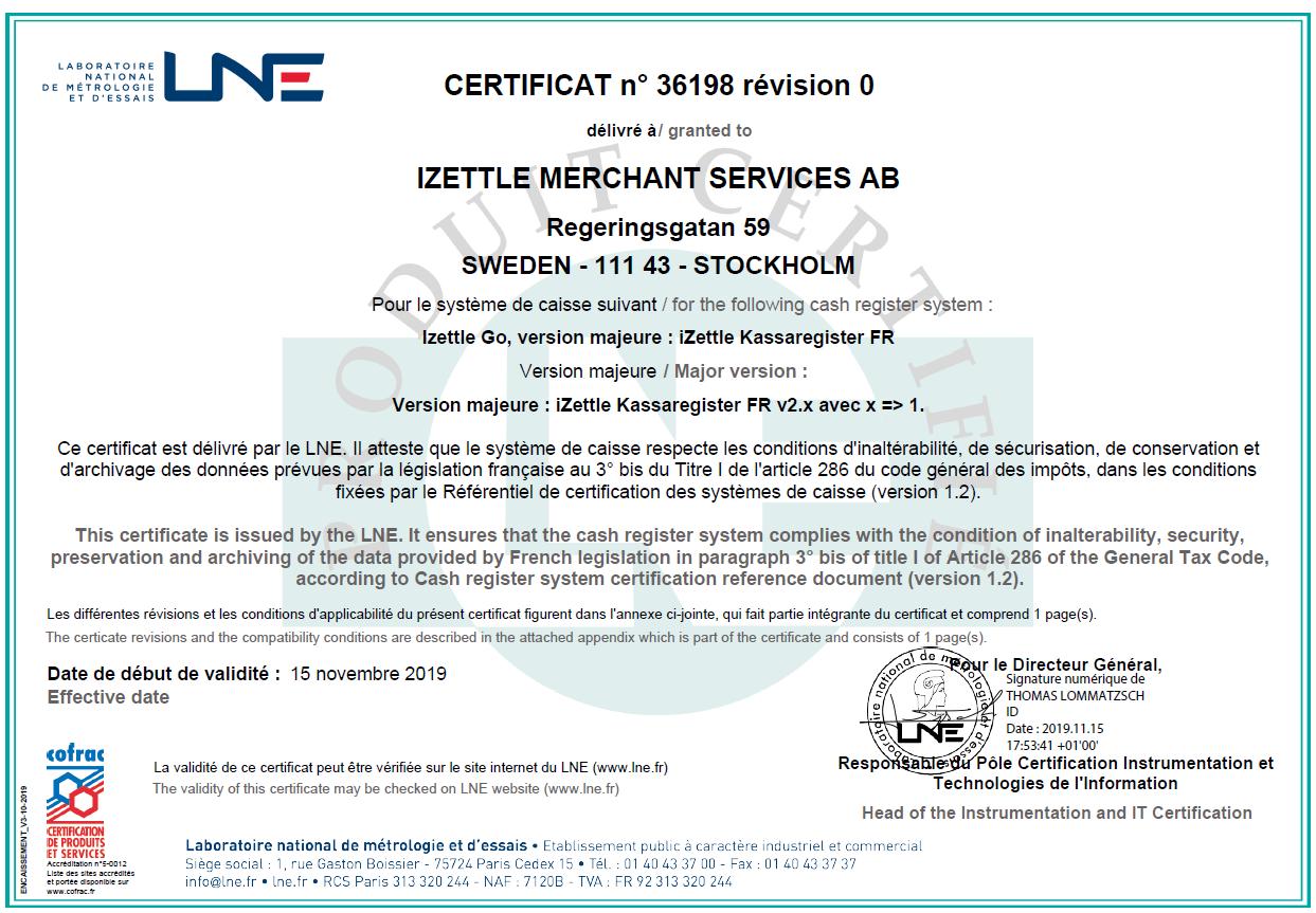 Certificat de l'application iZettle Go, délivré par le LNE