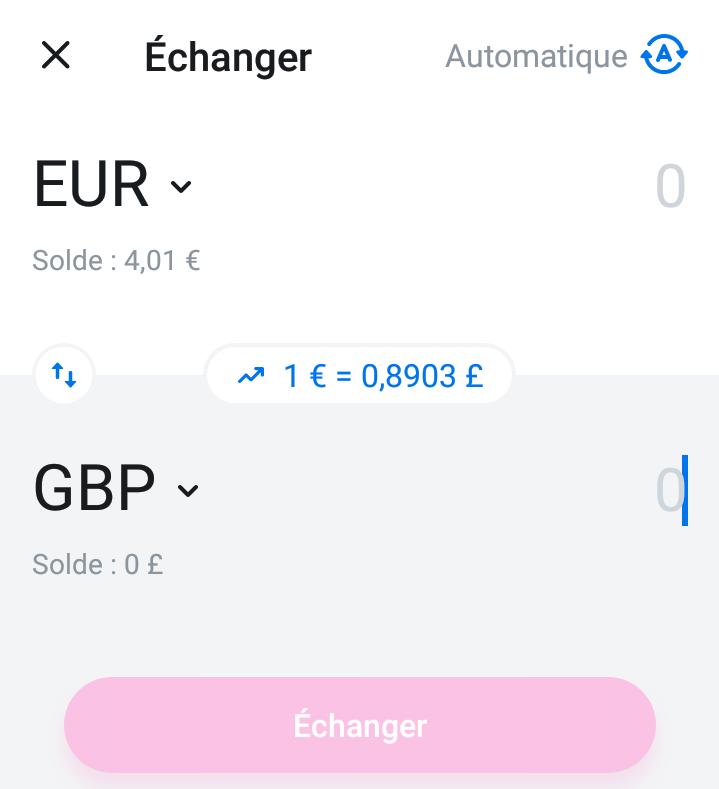 Échange de devises avec l'application Revolut
