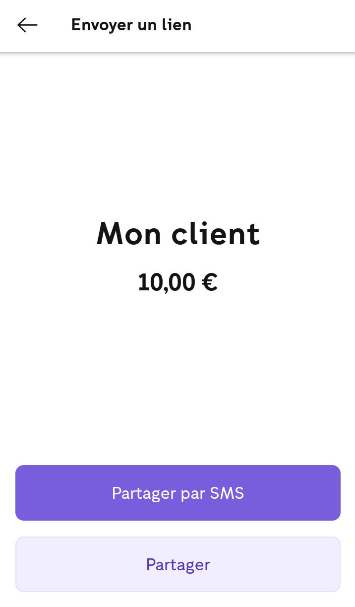 Lien de paiement iZettle - choix du mode d'envoi