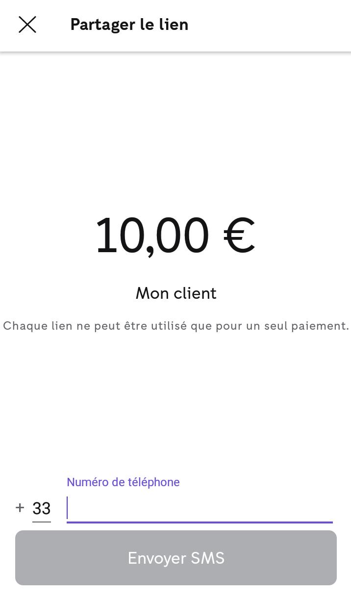 Lien de paiement iZettle - SMS