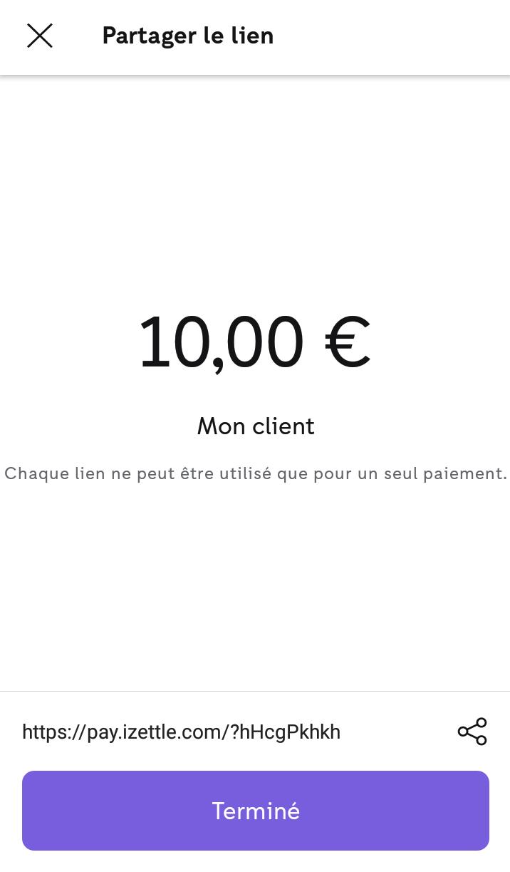 Lien de paiement iZettle - partage