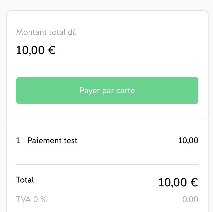 Lien de paiement iZettle - écran de paiement 1