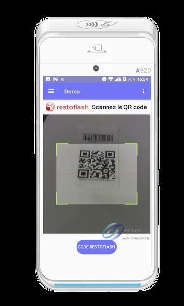 Scan d'un QR code RestoFlash avec Yavin