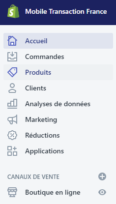 Menu du back office de Shopify