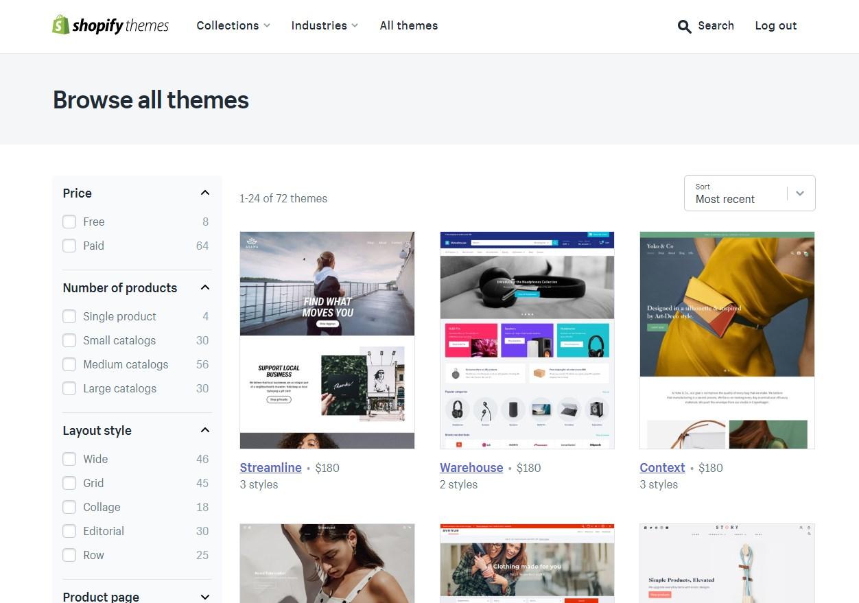 Boutique de thèmes de Shopify
