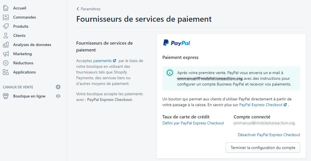 Shopify : paramètres : fournisseurs de services de paiement