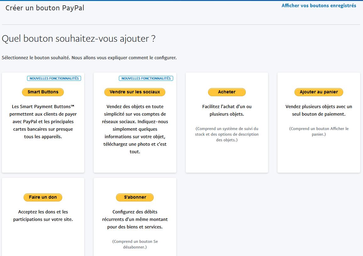 Choix des boutons de paiement PayPal