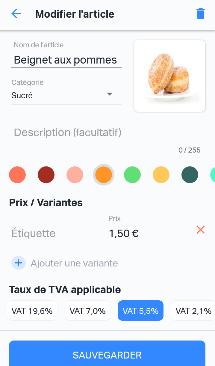 Modification d'un article dans le SumUp E-Shop