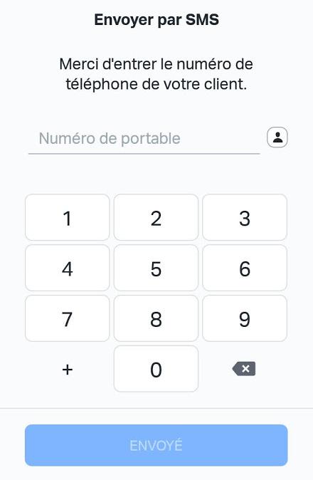 SumUp paiement par lien - Partage par SMS