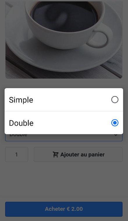 SumUp E-Shop, choix d'une variante