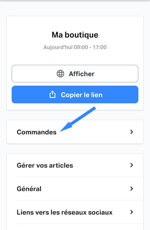 SumUp E-shop : accès à la liste des commandes