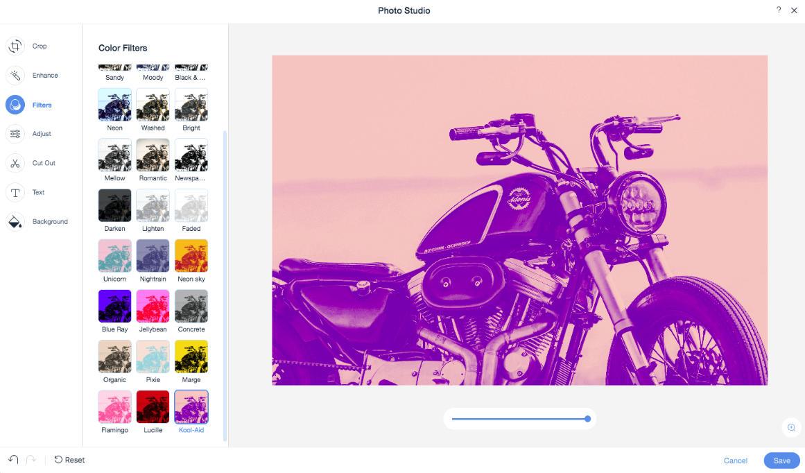 Ajout de filtres avec l'éditeur de photos de Wix
