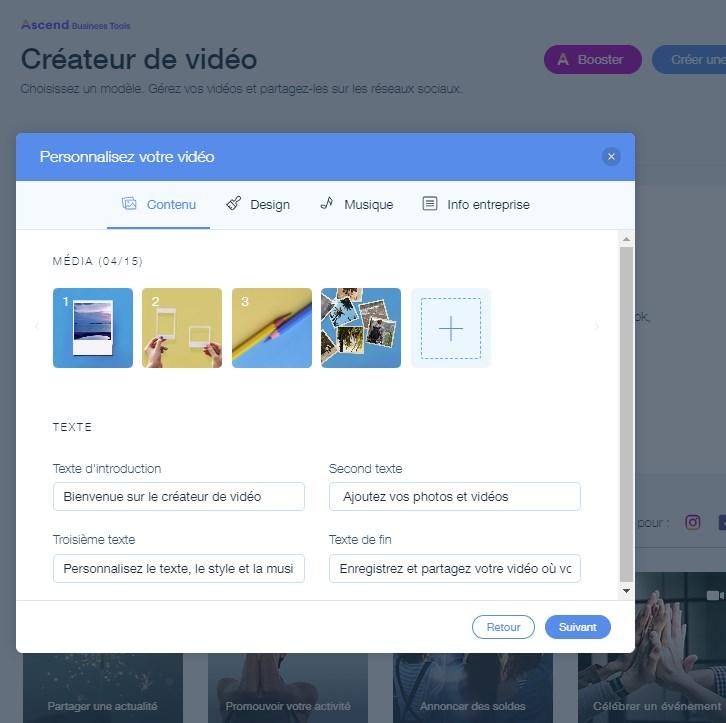 L'outil de création de vidéos de Wix