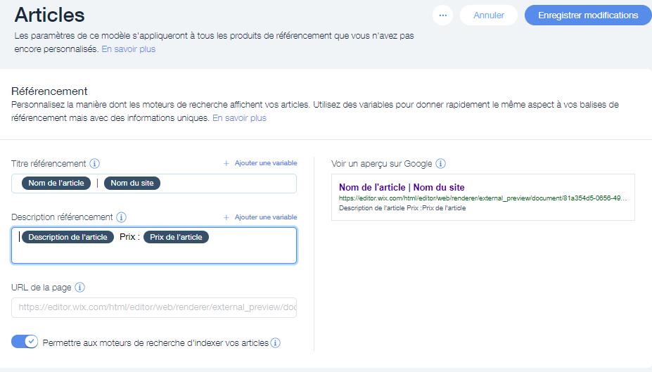 Réglage du référencement des articles dans Wix