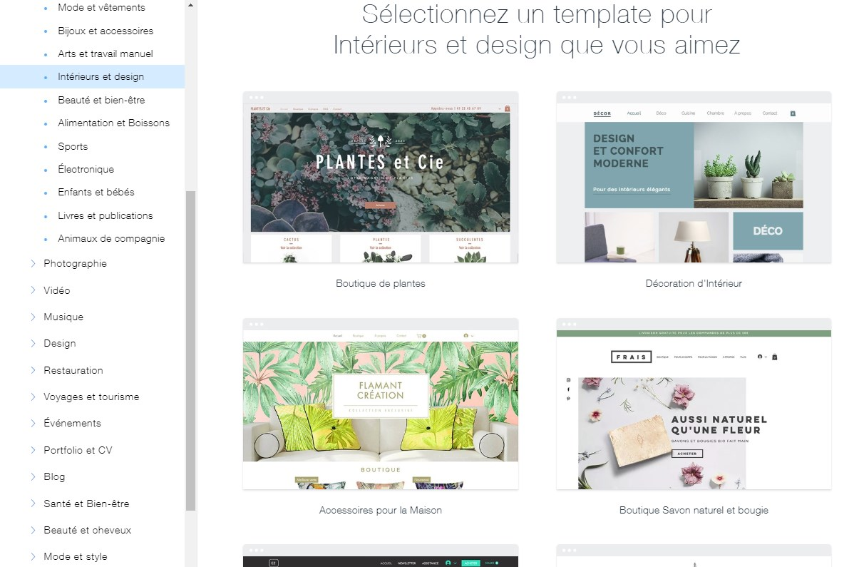 Catalogue de template de Wix