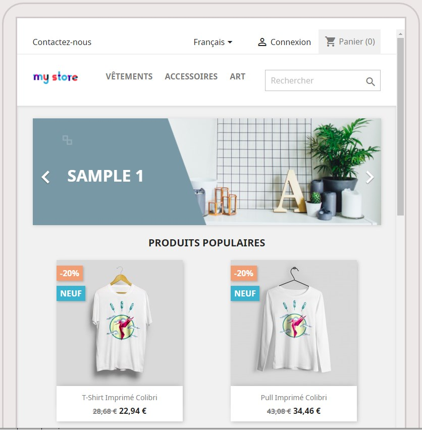 Boutique de démonstration de PrestaShop