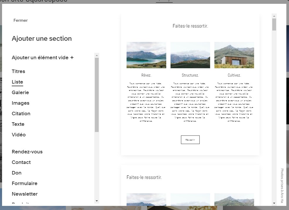 Squarespace : ajout d'une section