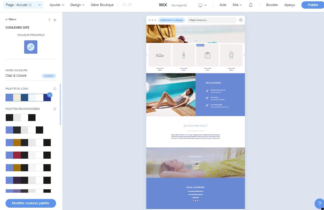 Modification de la boutique crée avec Wix ADI