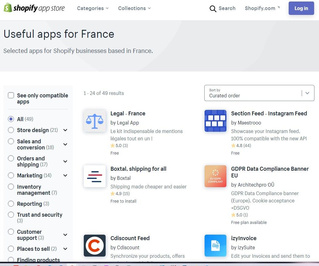 Application Shopify pour la France