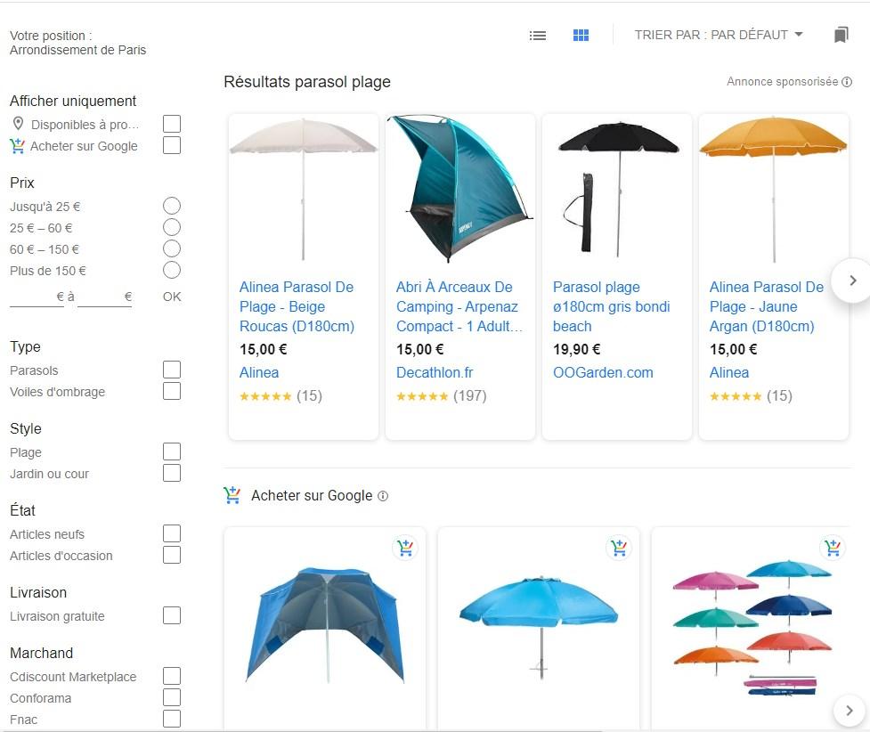 Google Shopping exemple de résultat