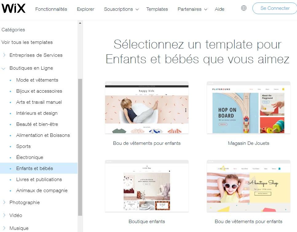 Thèmes d'e-commerce pour Wix