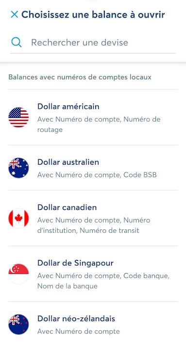 Ouvrir un compte local Wise dans l'application : liste des devises disponibles